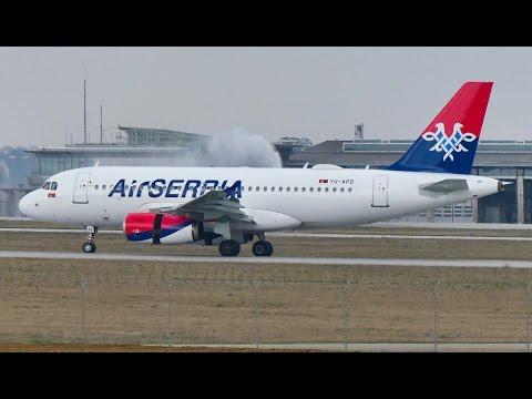[4K] Air Serbia A319-100 YU-APD landing @ Stuttgart Airport