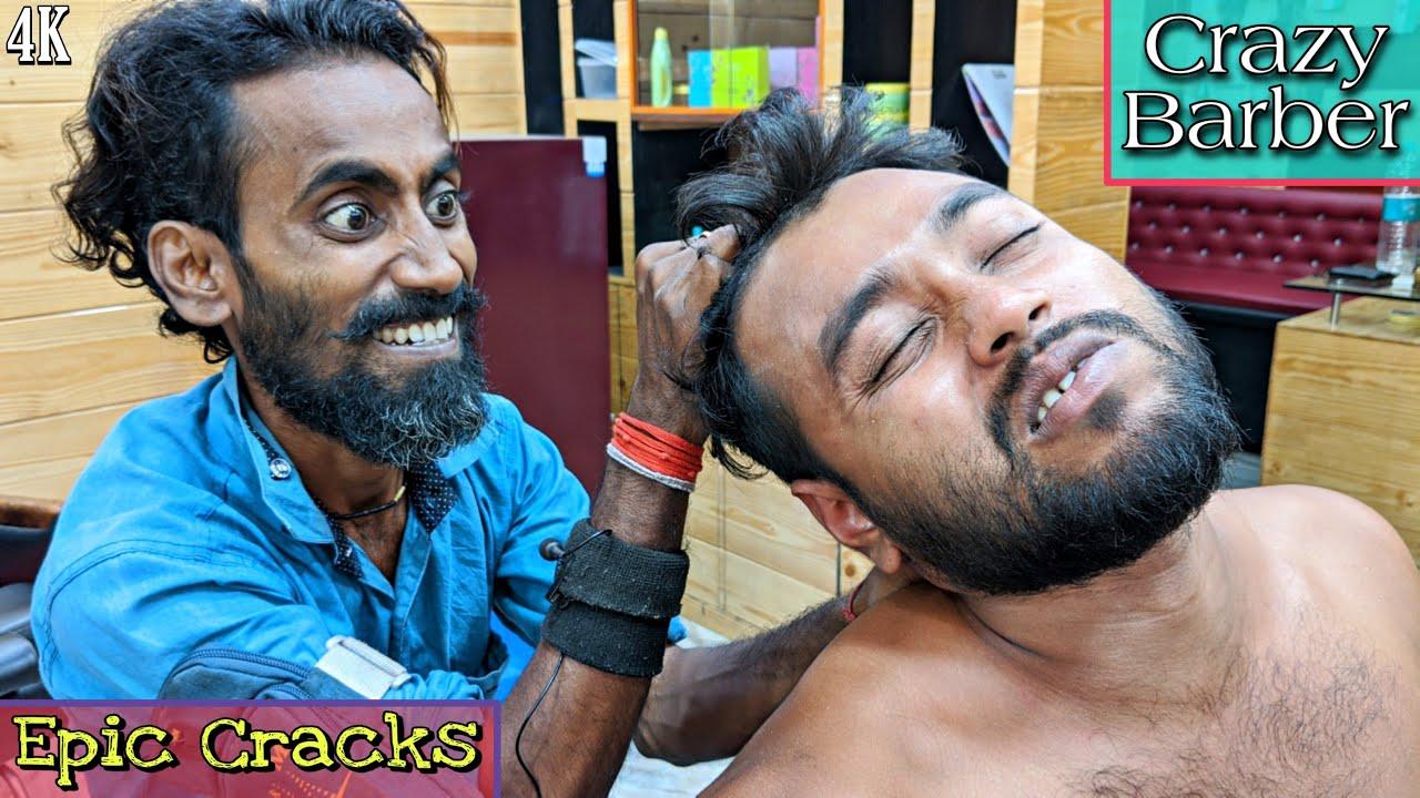 Crazy Barber 😜 Head Massage with Amazing Cracks / Body Massage | ASMR Tingles