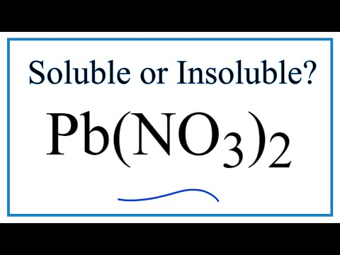 Is Pb(NO3)2 Soluble Or Insoluble In Water?