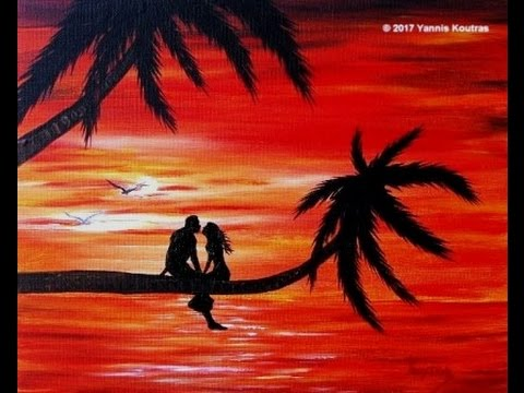 Acrylic Painting on Canvas - Romantic Sunset Easy for ...