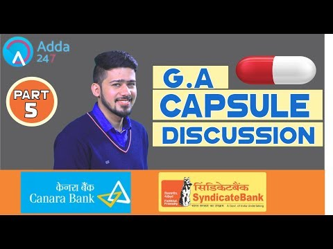 G.A. Capsule Discussion (Part- 5) By Kush Sir For SYNDICATE and CANARA BANK 2018