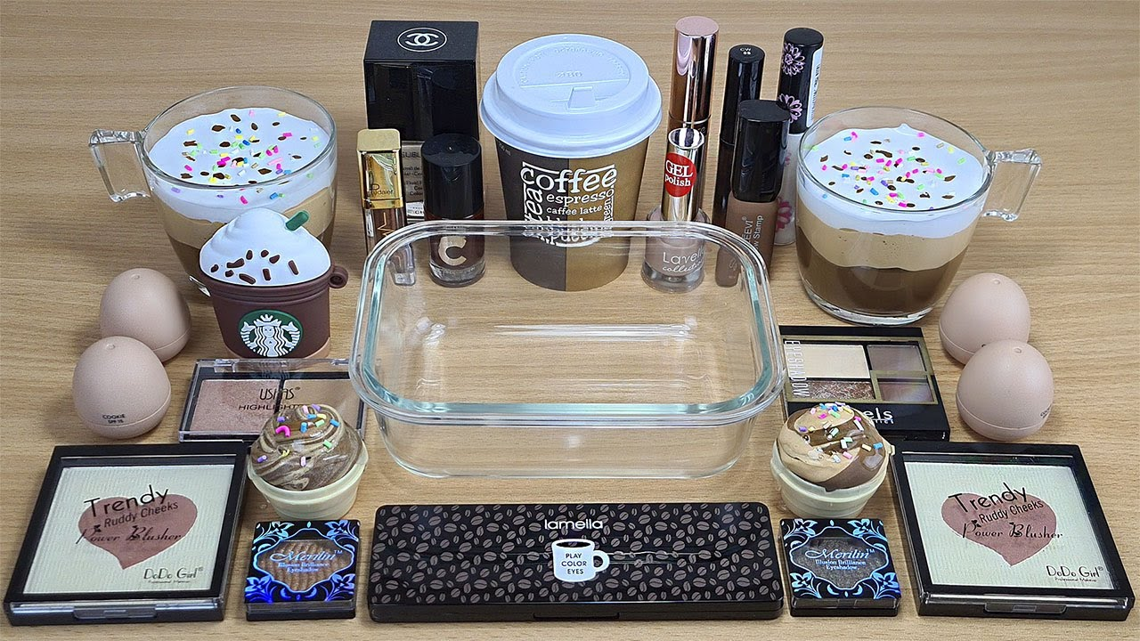 COFFEE SLIME Mixing makeup beads and glitter into Clear Slime Satisfying Slime Videos
