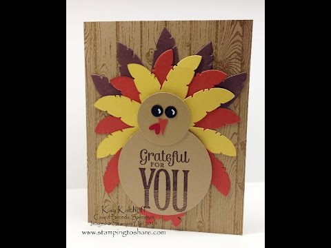 Stampin' Up! Feathers Framelits Turkey For Thanksgiving