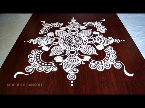 Super easy and simple circle rangoli designs with dots for beginners