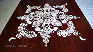 Super easy and simple circle rangoli des...