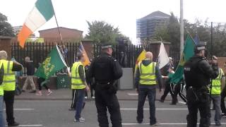 Henry-Joy McCracken parade and their supporters throwing missiles- Clifton Street, Belfast 2014