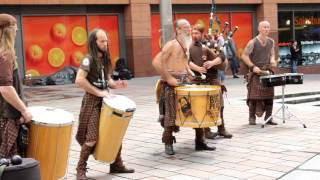 Clanadonia. Street concert of drummers in Glasgow.