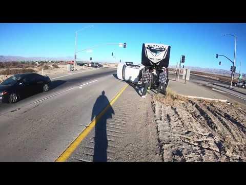 5th Wheel Trailer Flips Over!