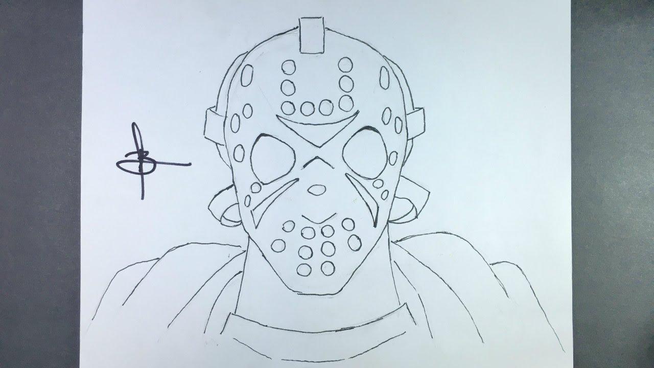 Como Desenhar A Mascara Do Jason Youtube