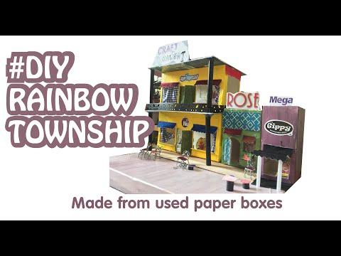 Rainbow Township/ Made from used paper boxes/tự làm thành phố mô hình bằng hộp giấy cũ