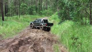 Hilux Locked lifted and loaded!! Mud clay slippy Hills of outback Glass House  Mountains!