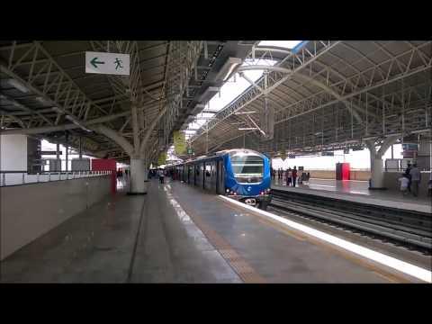 Chennai Metro train arrives at Platform 3 of Alandur station