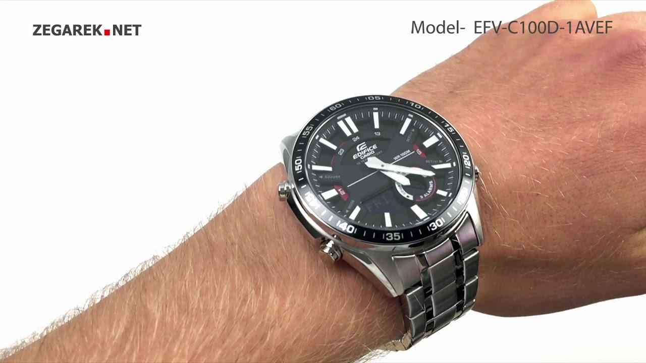 Casio Edifice Momentum Efv C100d 1avef Sporty Lcd Chronograph Zegarek Net Youtube
