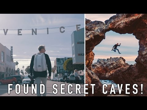 EXPLORING SECRET CAVES IN L.A.! HIT BY A HUGE WAVE!