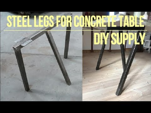 Steel legs for concrete table