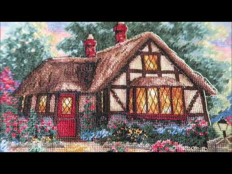 Completed Cross Stitch (Twilight Bridge) - Adding Backstitching And French Knots