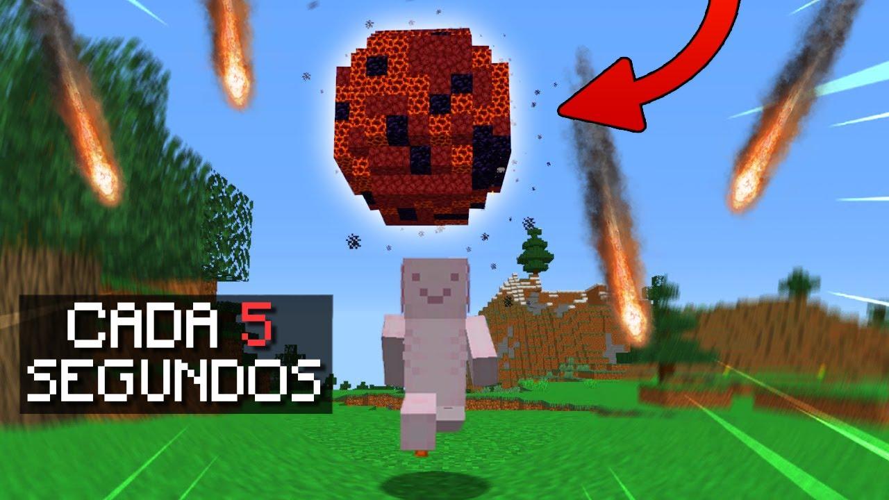 Minecraft pero CAE UN METEORITO CADA 5 SEGUNDOS