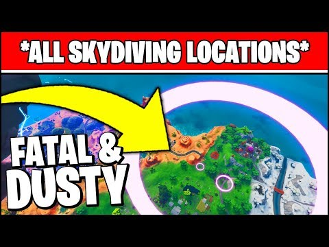 COMPLETE THE SKYDIVING COURSE OVER FATAL FIELDS AFTER JUMPING FORM THE BATTLE BUS LOCATIONS FORTNITE