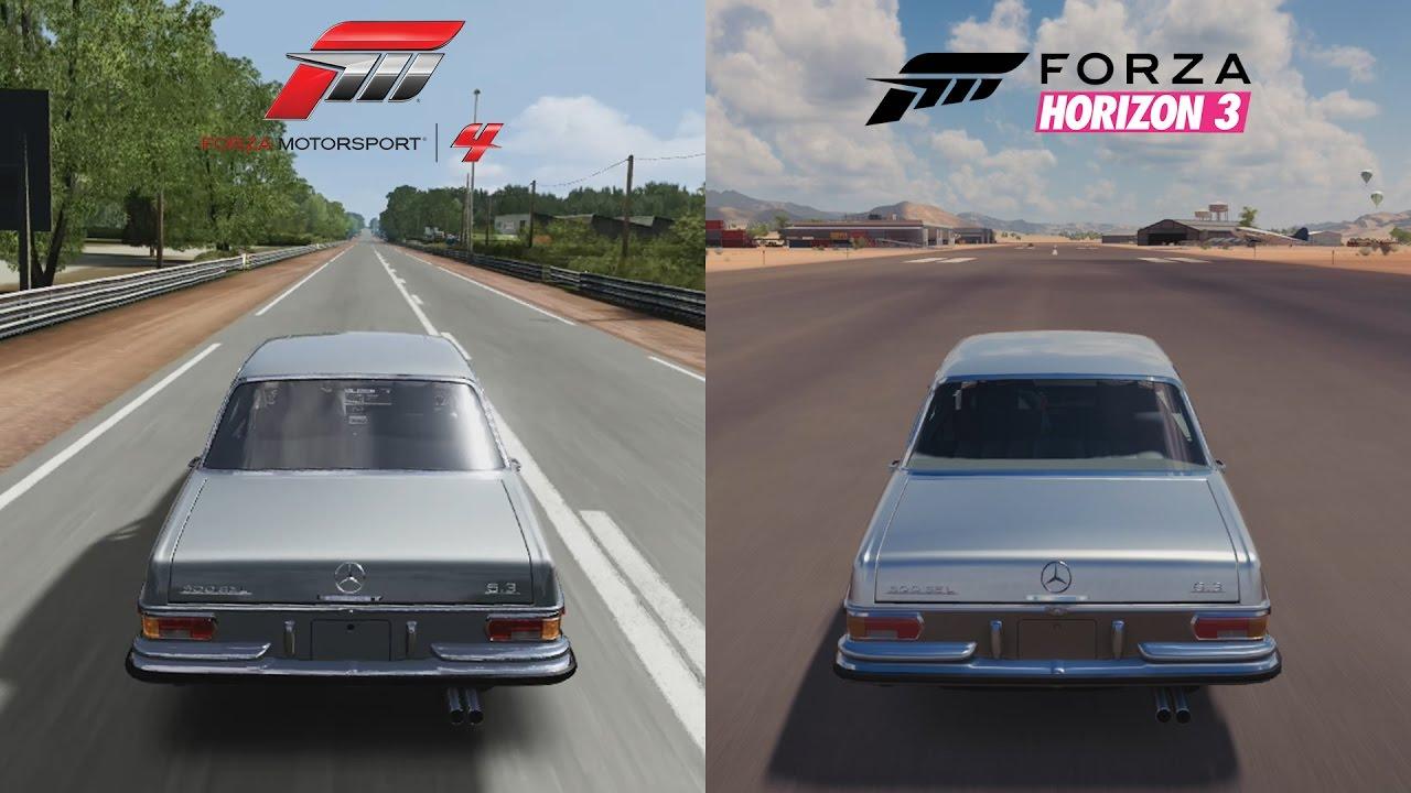 forza horizon 3 vs forza motorsport 4 1972 mercedes benz 300 sel 6 3 sound comparison youtube. Black Bedroom Furniture Sets. Home Design Ideas