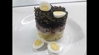 Салат Морская капуста с сельдью. Очень вкусный. Уходит на ура.
