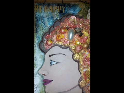 """Steampunk Victorian inspired """"Be Happy""""  mixed media canvas"""