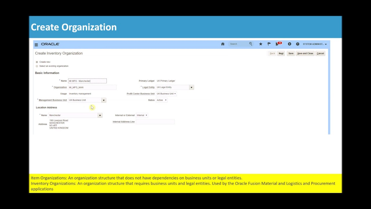Oracle Applications Fusion Cloud - Inventory : Create Organization