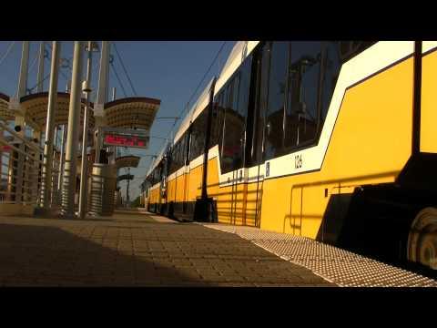 DART Train Arriving At Walnut Hill Station Dallas Texas
