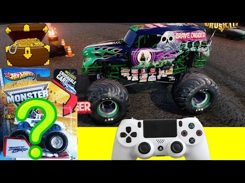 MONSTER JAM VIDEO GAME CHALLENGE with HOT WHEELS SURPRISE TOY TREASURE BOX FNAF