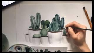Акварель для начинающих. Рисуем кактусы для стока (с описанием)