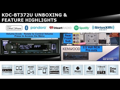 2018 kenwood kdcbt372u audio receiver unboxing  feature highlights