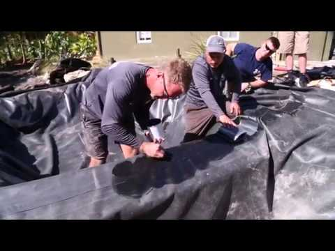 Glueing Pond Liner For A Watertight Seal