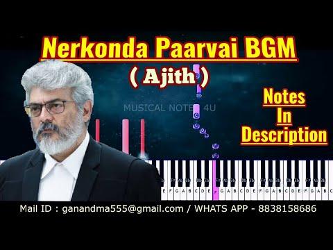 Nerkonda Paarvai bgm Piano notes   yuvan   #Ajith Kumar   Tutorial   keyboard   sheet music   cover thumbnail
