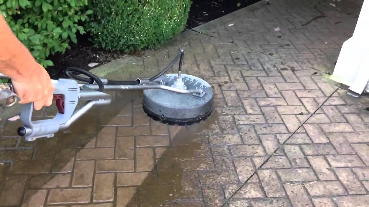Pressure washing stamped concrete youtube for Concrete pressure washer