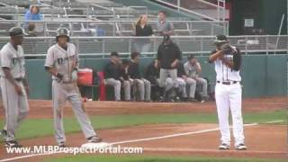 Billy Hamilton stolen base - Class-A Dayton Dragons - Midwest League