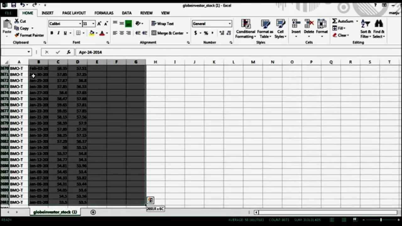 how to get mean of a coloumn in excel