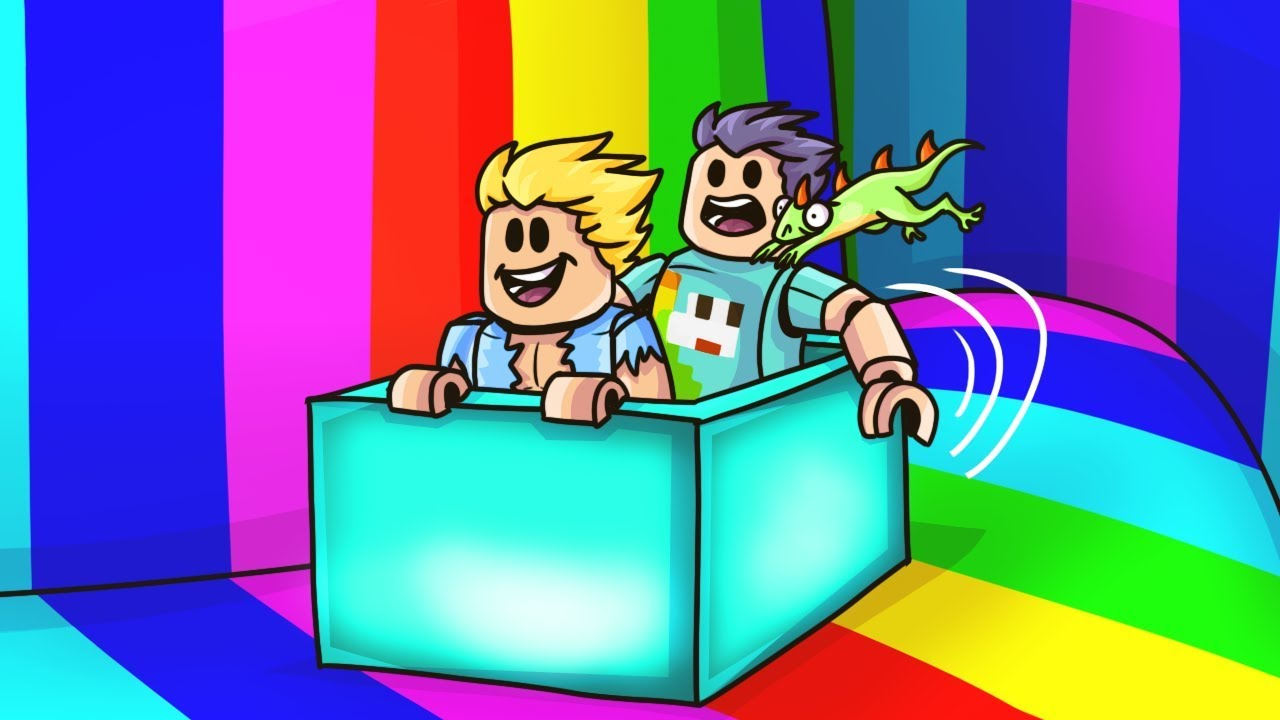 Youtube Jen And Pat Roblox Sliding Down The Biggest Rainbow In Roblox Youtube