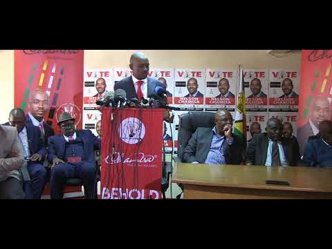 Chamisa answer questions from journalists at Harvest House