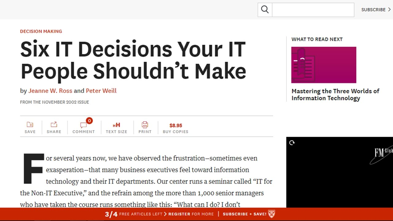 six it decisions you it people Six it decisions your it people shouldn  when they abdicate responsibility for these six it decisions,  in the november 2002 issue of harvard business review.