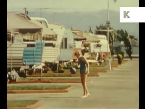 1950s USA Trailer Park Life Caravan Site Rare Colour Home Movies