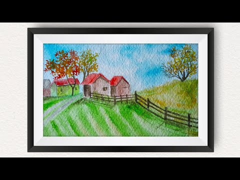Watercolor painting for beginners landscape : How to paint village scenery (Farm Barns Autumn Trees)