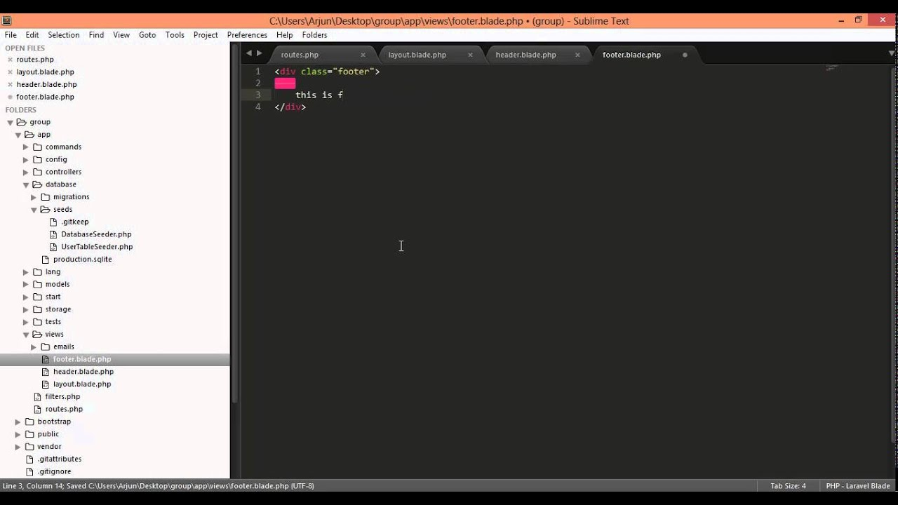 laravel 4 @include header footer view files - YouTube