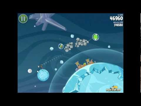 Angry Birds Space S-4 Cold Cuts Bonus Level Walkthrough