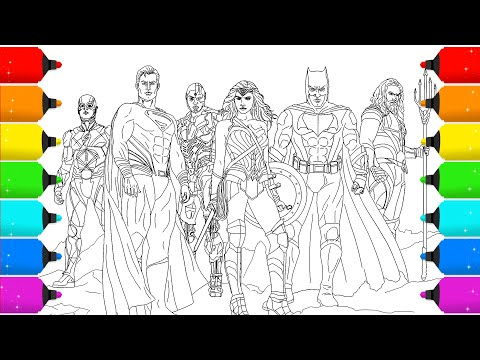 Digital Drawing Justice League For Coloring Pages _Timelapse