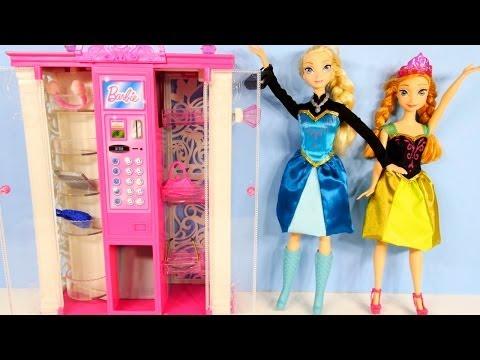 Barbie Frozen Elsa and Anna Fashion Vending Machine Playset Disney Frozen Barbie Dolls Storage