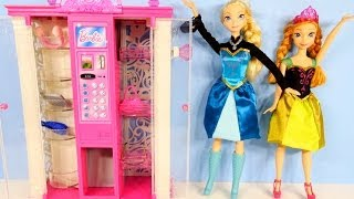 Barbie Frozen Elsa and Anna Fashion Vending Machine Playset Disney Frozen Barbie Dolls Storage