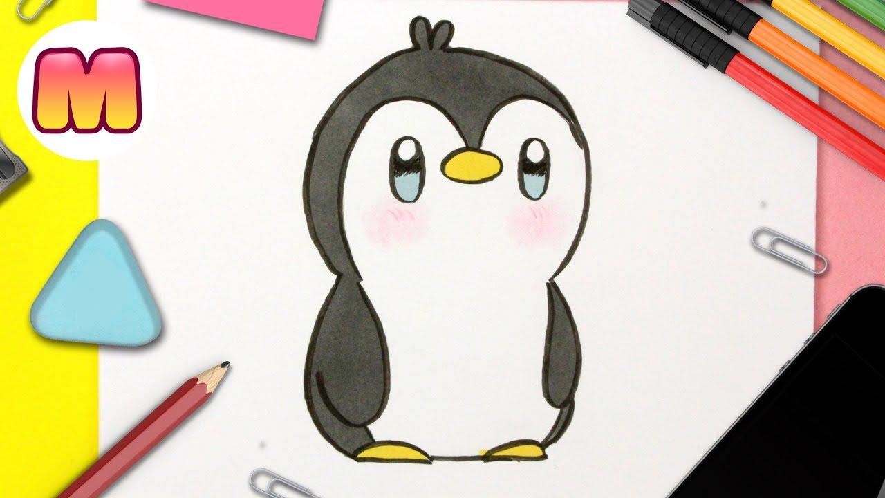 COMO DIBUJAR UN PINGÜINO KAWAII PASO A PASO - Dibujando un pingüino - Como  dibujar animales kawaii - YouTube