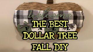DOLLAR TREE PUMPKIN WREATH FORM FALL DIY | DOLLAR TREE DIY WELCOME FALL