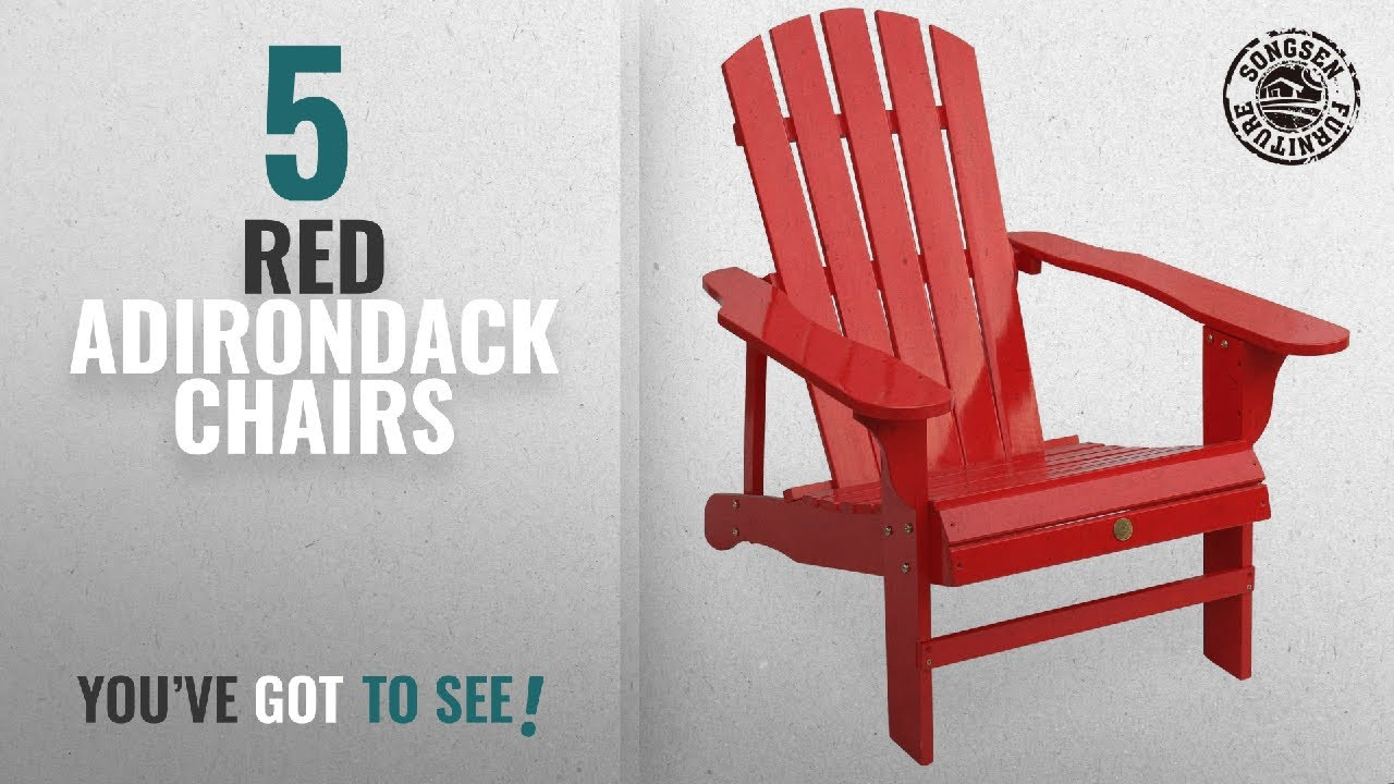 Top 10 Red Adirondack Chairs [2018]: Songsen Outdoor Log Wood Adirondack  Lounge Chair Patio Deck