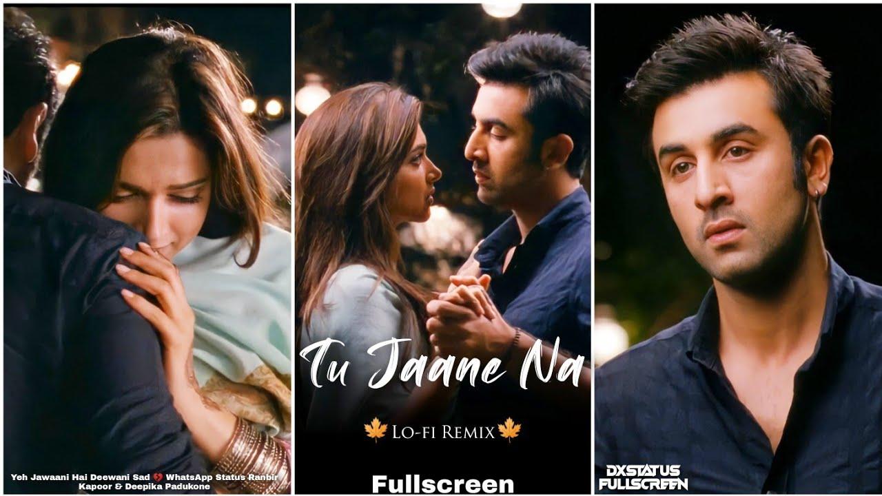 Tu Jaane Na Fullscreen Whatsapp Status | Ranbir Kapoor Status 💔 | Tu Jaane Na Lofi Song Sad Status