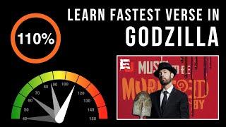 vuclip Let's Practice! Eminem's Fastest Verse In 'Godzilla' (Slowed down w/ scrolling lyrics)
